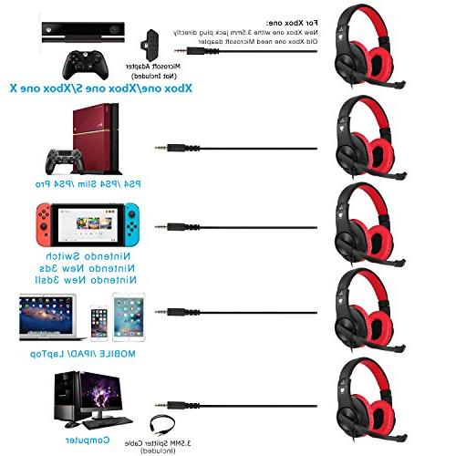 BUTFULAKE Gaming for PS4, Nintendo and Noise Isolation, Lightweight 3.5mm Volume Control Laptop
