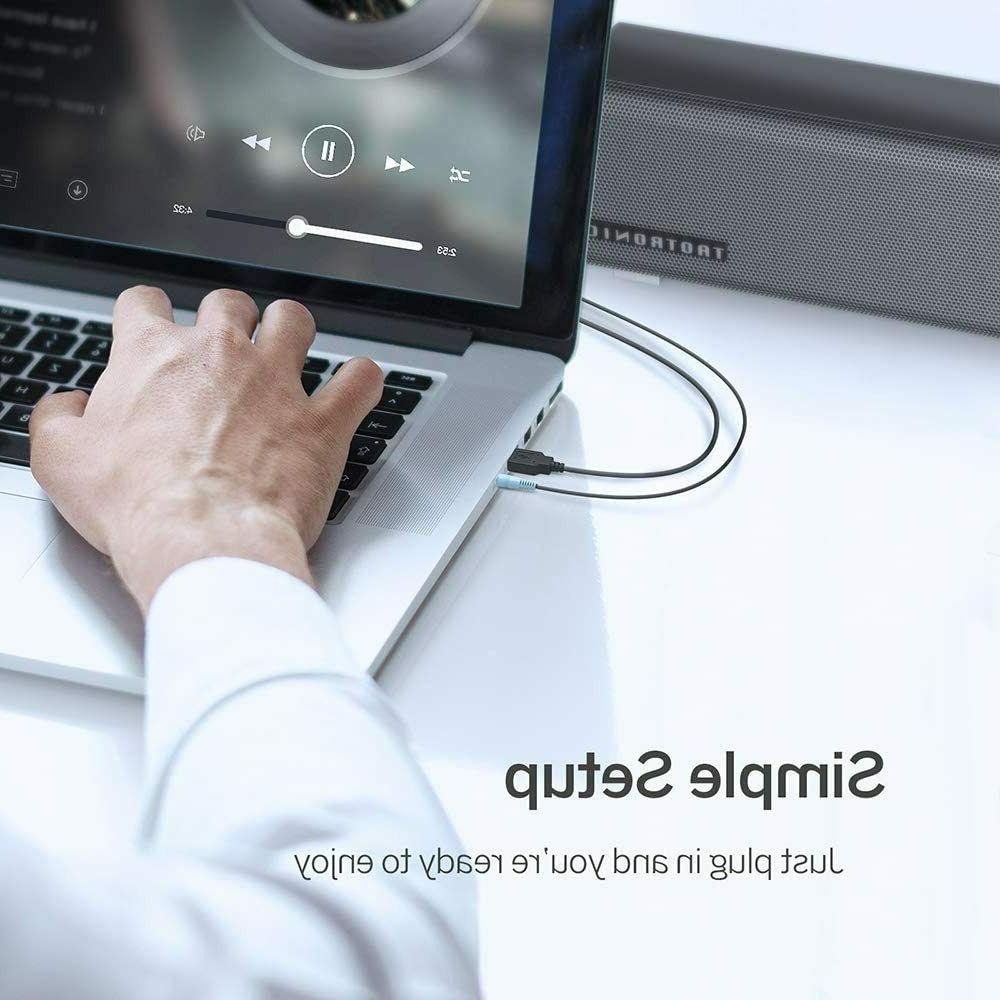 Stereo Soundbar for PC Tablets Cellphone