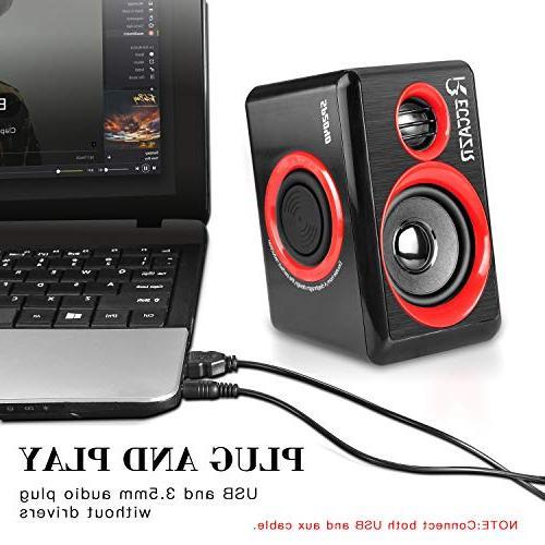 Surround Computer Deep USB Powered PC/Laptops/Smart Phone RECCAZR Four Loudspeaker