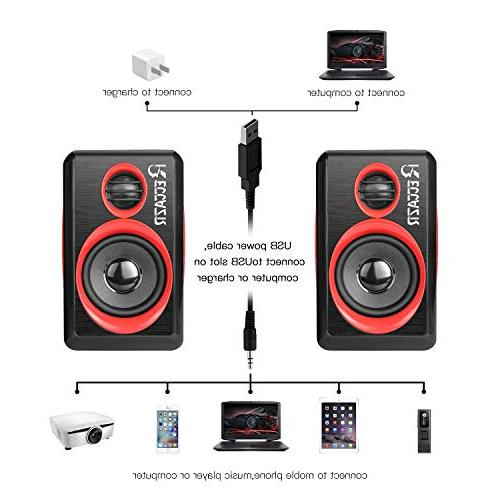 Surround Computer Deep USB Wired Powered Multimedia PC/Laptops/Smart Phone RECCAZR Four Diaphragm