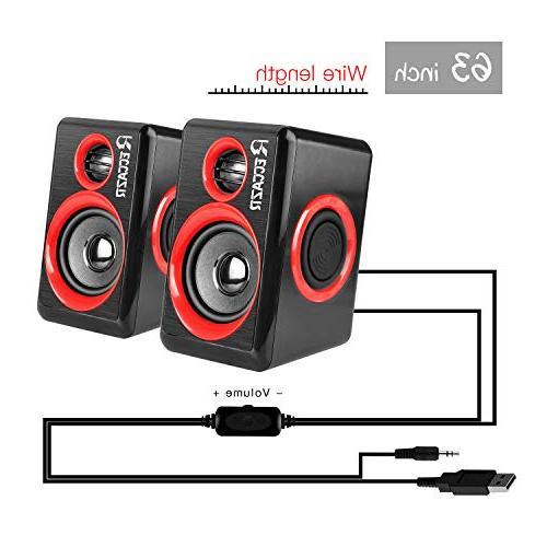 Surround Speakers Deep Powered Multimedia Speaker PC/Laptops/Smart Phone RECCAZR Four Diaphragm