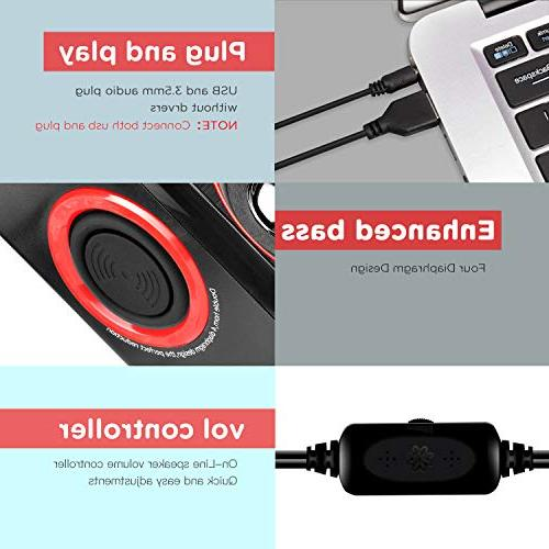 Surround with Deep USB Powered for PC/Laptops/Smart Phone Four Loudspeaker Diaphragm