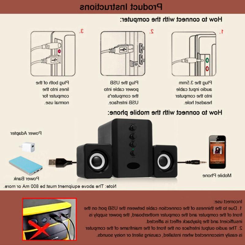 USB 2.1 Speakers System Desktop PC Laptop Audio Player Mini