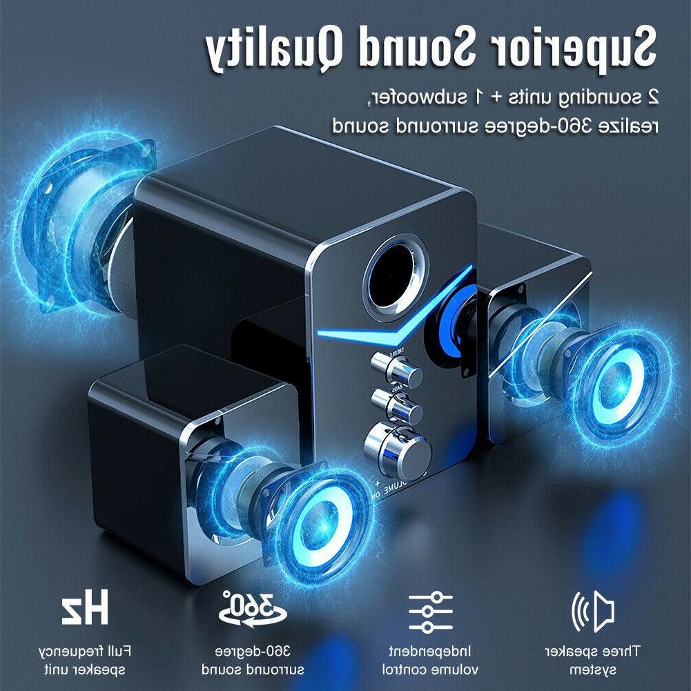 USB 2.1 Computer with Subwoofer,3.5mm Multimedia for PC Desktop