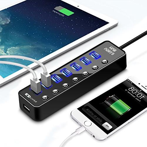 USB Hub 8 Port USB Port and Charging Port Switches Lights Computers iPhone iPad Laptop PC Mobile with