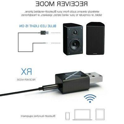 Bluetooth 5.0 Receiver AudioTransmitter Adapter for TV/PC AU