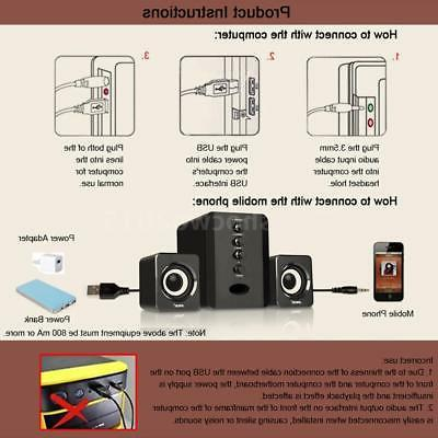USB 2.1CH System Multimedia AUX Stereo Bass Subwoofer