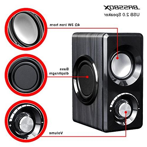BASSBOX Channel Computer Speakers Sound for Mac,PC,Laptop,Smart and More