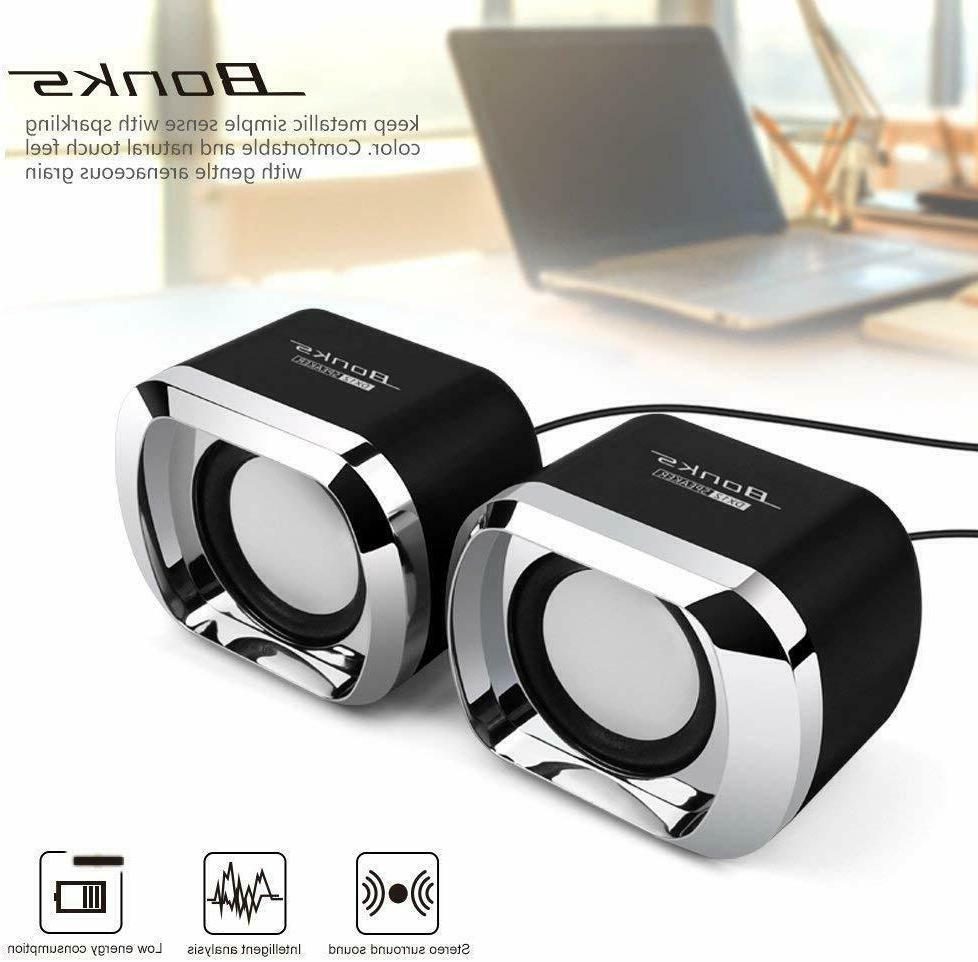 usb computer speakers pc desktop laptop stereo
