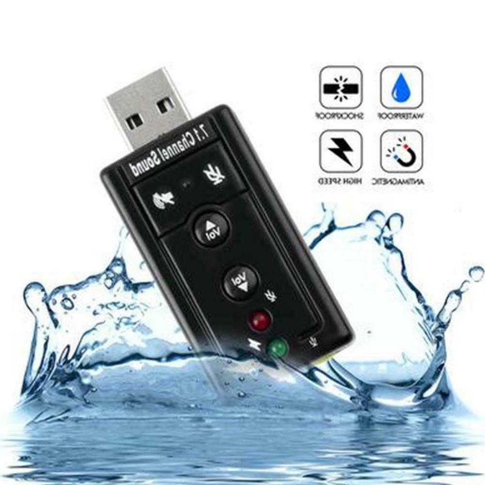 USB PC Laptop To Mic Speaker Headphone 7.1 Channel 3D Audio