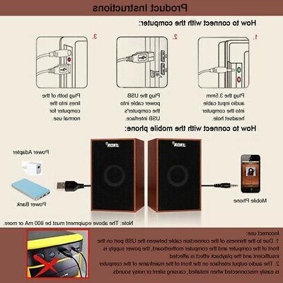 SADA Wooden Computer Speakers Stereo Subwoofer U5B5