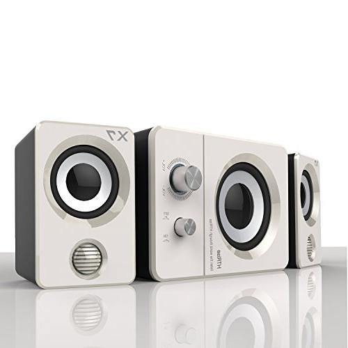 HTRise USB Speakers System Active Multimedia Stereo for Laptop/Desktop/Lenovo/HP/ThinkPad/IBM/DELL/SONY/MACFEE/SAMSUNG/ACER/Microsoft/PC