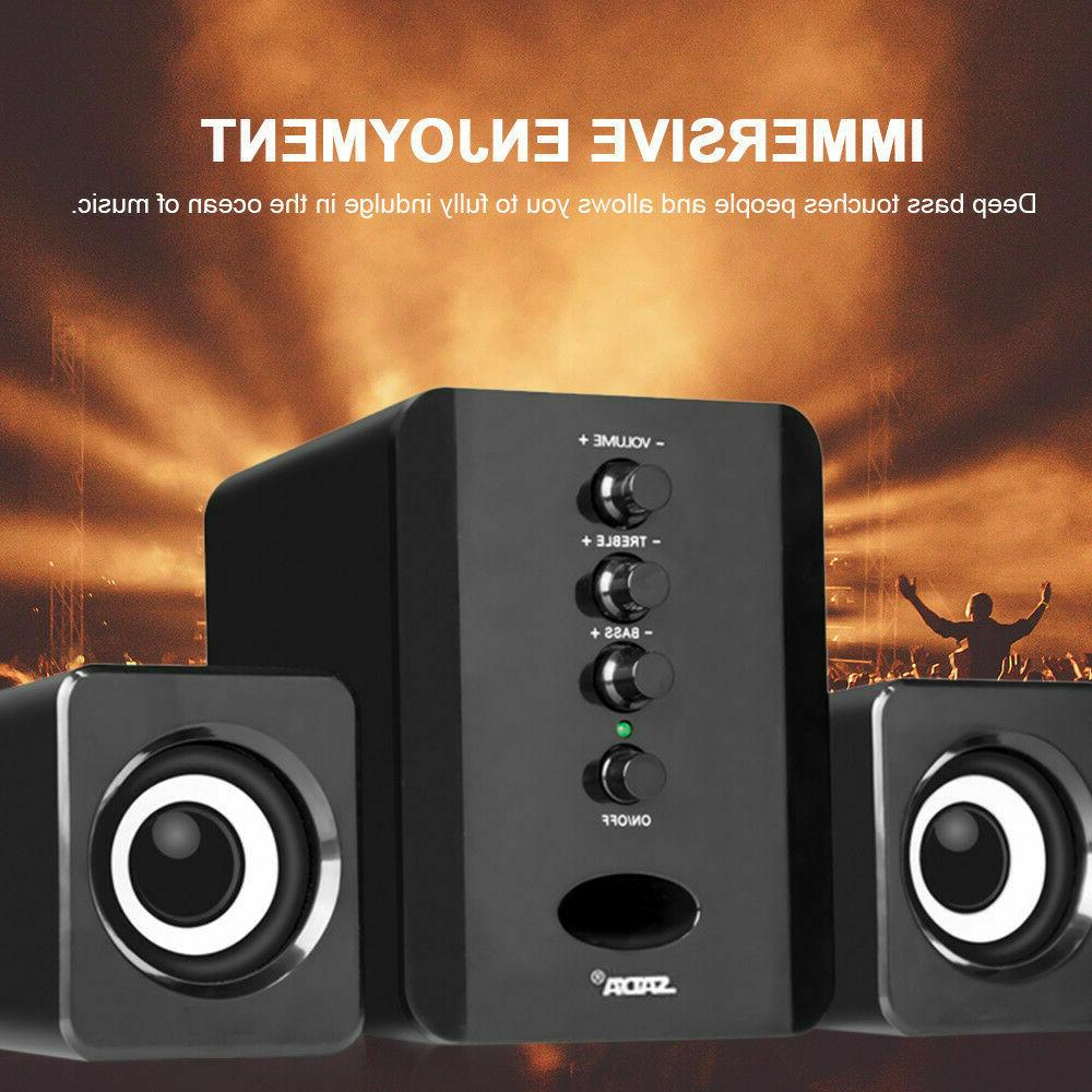USB#Wired 2.1 Computer Speakers with Subwoofer 3.5mm Jack fo