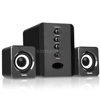 USB Wired 2.1 Computer Speakers with Subwoofer Jack for Desktop PC