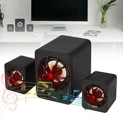 USB Wired LED Computer Speakers Stereo Bass PC
