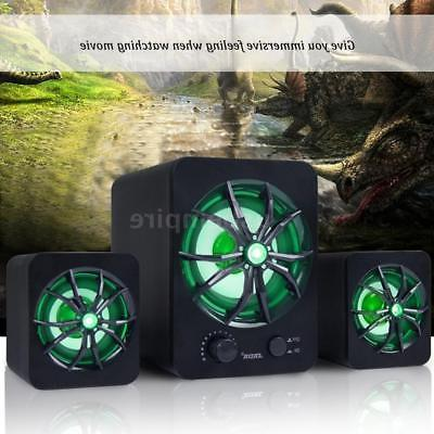 USB Music Speakers Stereo Subwoofer Bass Laptop