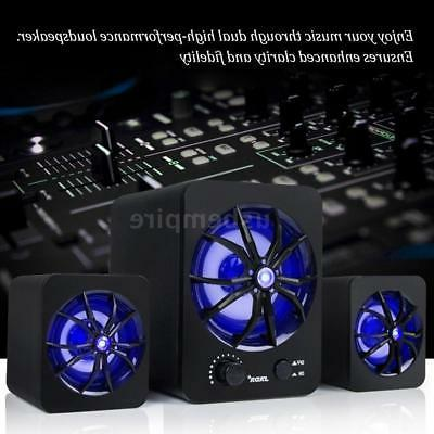 USB LED Computer Music Stereo Subwoofer Bass Sound For Laptop