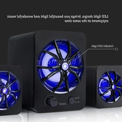 usb wired led computer music speakers stereo