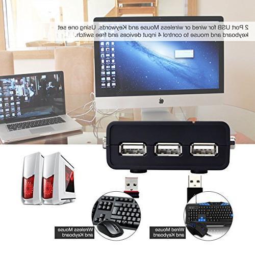 4 Port 2.0 VGA KVM to USB Hub PC/Montior/Mouse/Keyboard Control