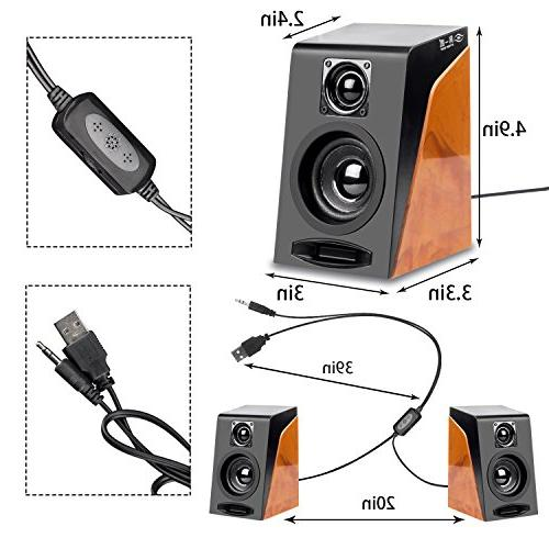 Wired Speakers, Wired Stereo Desktop Bookshelf Speakers with Ideal for PC, Desktop Tablet