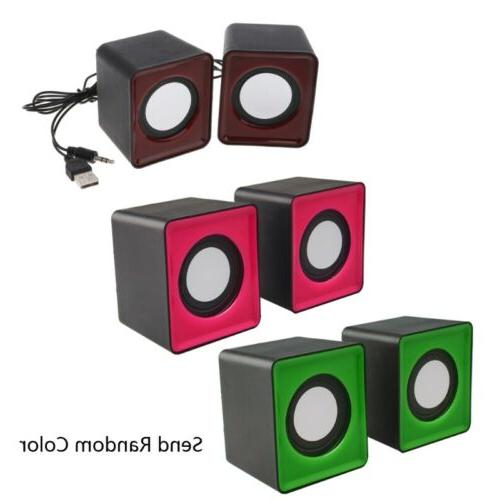 Random Color Wired Mini Speakers USB 2.0 for Laptop PC MP3 M