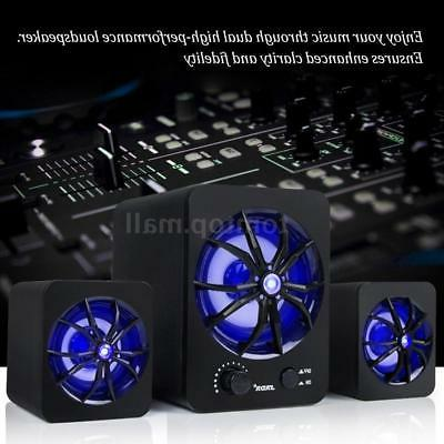 Wired USB Computer Speakers Stereo Super Colorful For Laptop