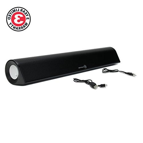 GOgroove Speaker Sound Bar BlueSYNC BBR Desktop Sound USB Rechargeable, Wireless Streaming & Wired 3.5mm Input, 18in Compact Size Desks
