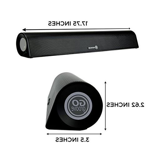 GOgroove Wireless PC Computer Speaker Sound Bar BlueSYNC BBR Bluetooth Desktop Sound Bar USB Wireless Streaming AUX 3.5mm 18in Size