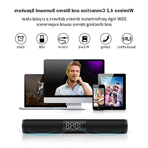 Sound Bar, and Wireless Bar LED HiFi Speaker with Alarm Clock TV iPhone iPad and Tablets