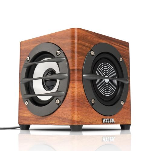wood usb computer speakers wired