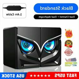 LED Speakers PC Gaming Surround Sound System Loud Deep Bass
