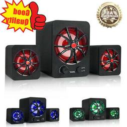 LED USB Wired Computer Speakers Stereo Bass Subwoofer Mini F