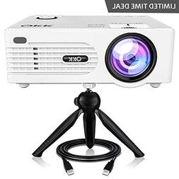 GBTIGER Mini Projector, Full HD 1080p Supported, 2200 Lumens