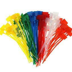 CREATRILL 120 Pcs 6 Colors Nylon Cable Marker Ties Self-Lock