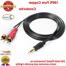 FOR PC DVD TV VCR Speakers Video 3.5mm Aux Audio Stereo to 2