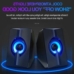 PC Gaming LED Speakers Surround Sound System Loud Deep Bass