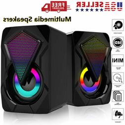 RGB LED USB Wired Computer Mini Speakers Stereo Bass For PC