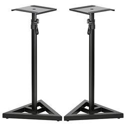 Topeakmart 2 Pcs Speaker Stands Adjustable Monitor Metal Set