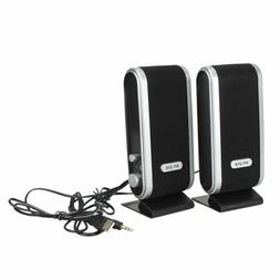 2X USB POWER BLACK MULTIMEDIA STEREO SPEAKERS FOR LAPTOP DES
