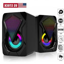 USB Power RGB LED Wired Computer Mini Speakers Stereo Bass F