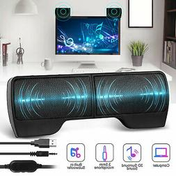 USB Power Speakers Clip-On Computer Stereo Sound Bar 3.5mm f
