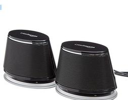 USB-Powered PC Computer Speakers with Dynamic Sound Black -