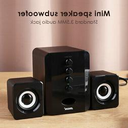USB Wired 2.1 Computer Speakers with Subwoofer 3.5mm Jack fo