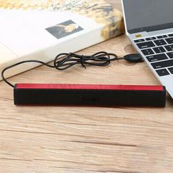 USB Wired Speaker Stereo Soundbar Subwoofer 3.5mm For Deskto