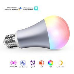 WiFi Smart Light Bulb, E27 60W Equivalent Warm White & RGB &